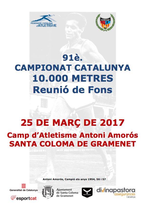 La UCA, organitzadora del Campionat de Catalunya de 10.000 metres el proper 25 de març