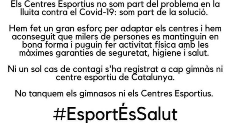 Comunicat Esport És Salud COVID-19